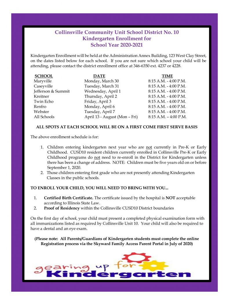 2020 K Enrollment Schedule English