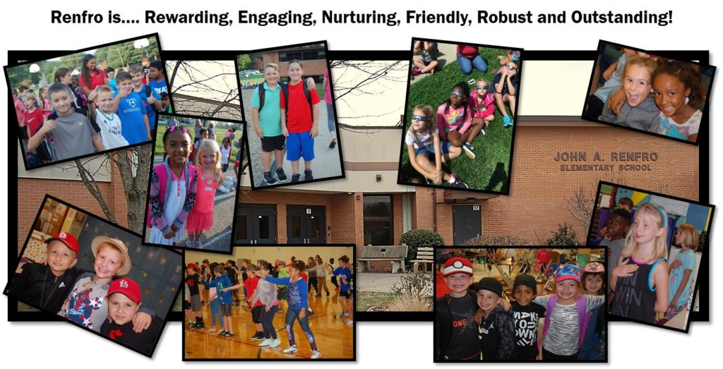 Renfro School surrounded by students