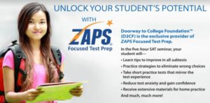 Photo of girl with backpack and bullet points on ZAPS program