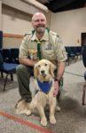 Webster Principal Brad Snow with Esther Comfort Dog