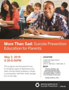 Photo of flyer for May 2 suicide prevention edcuation event at Collinsville High School