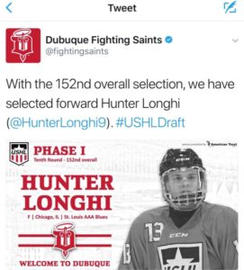 Tweet showing Hunter Longhi USHL draft