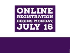 Online Registration Begins Monday July 16, 2018
