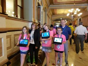 DIS students in Springfield with Rep Stuart and teacher Jason Watts