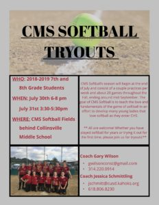 Information for CMS 2018 Softball Tryouts