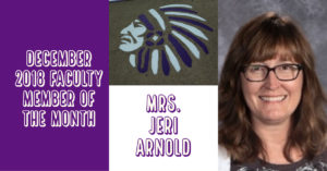 Jeri Arnold Dec. 2018 CHS Faculty Member of the Month