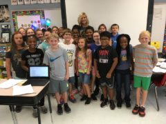 Webster 4th Grade Teacher Susie Benson with Class