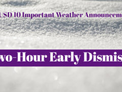Early Dismissal January 11, 2019 Due to Expected Weather