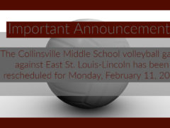 CMS Volleyball Game Rescheduled for 2-11-19