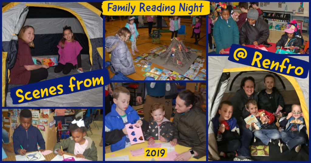 Collage of Renfro Family Reading Night 2019 Photos