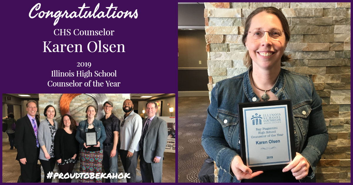 CHS Olsen is Illinois Counselor of the Year April 2019