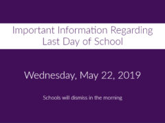 2018-19 Last Day of School Will Have Early Dismissal