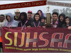 CMS Boys Track Team with Trophy at State May 2019