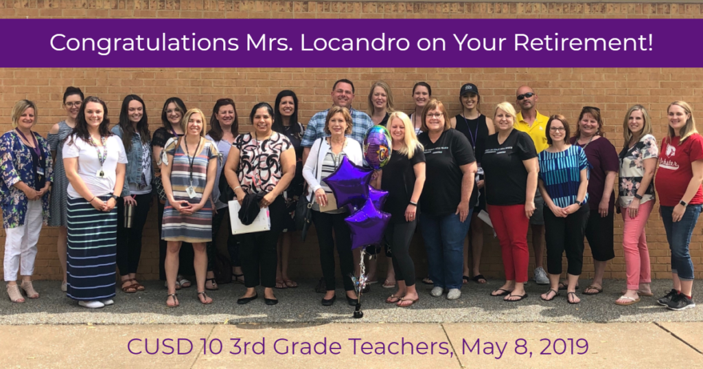 Group photo of third grade teachers with Locandro