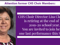 CHS Assembling Alumni Choir to Honor Mrs. Cleveland in Spring 2020