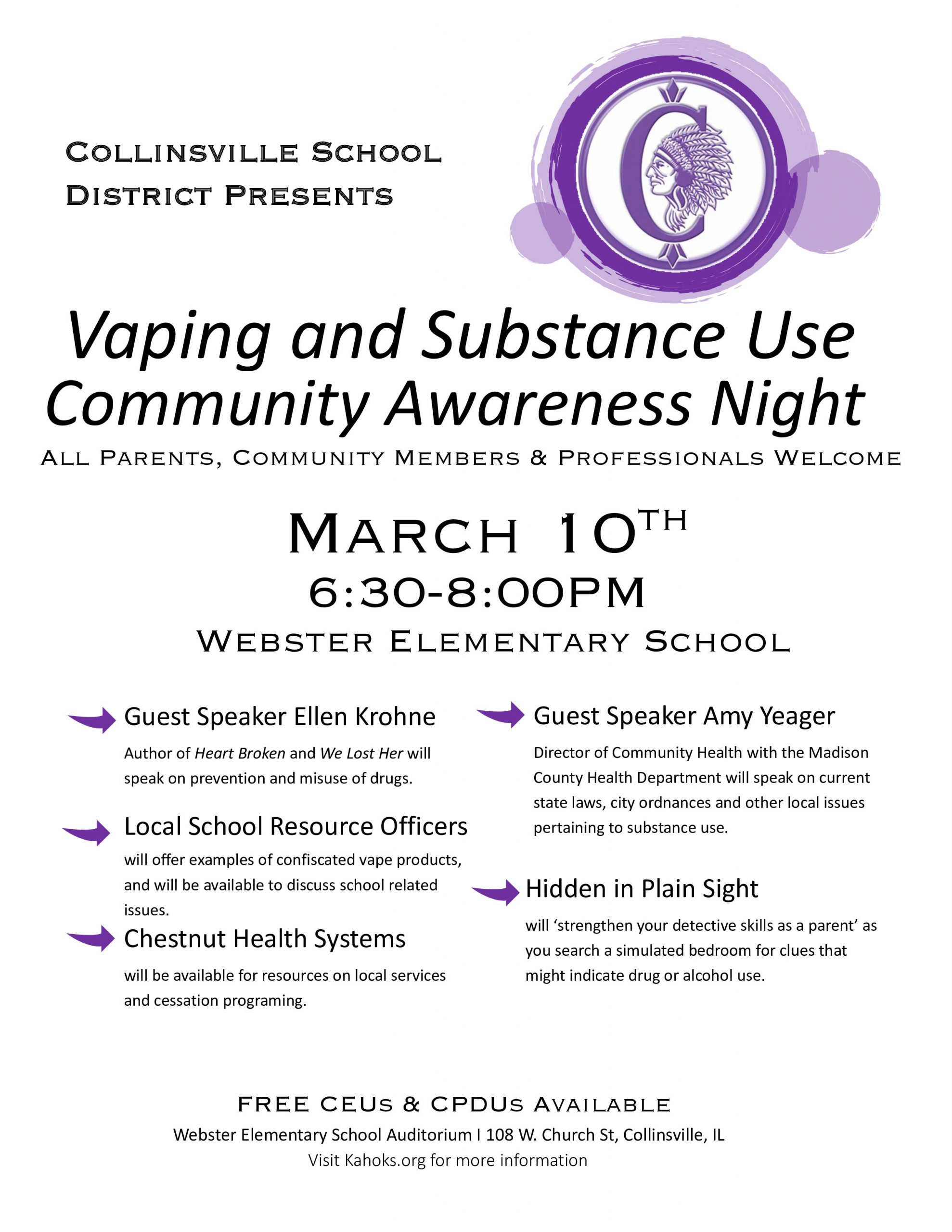 Event Flyer for Vaping & Substance Abuse Awareness Night
