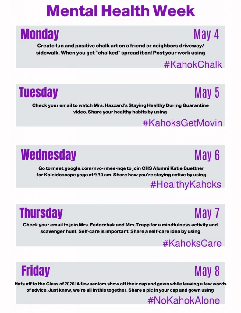 Daily Activities for CHS Mental Health Week 2020