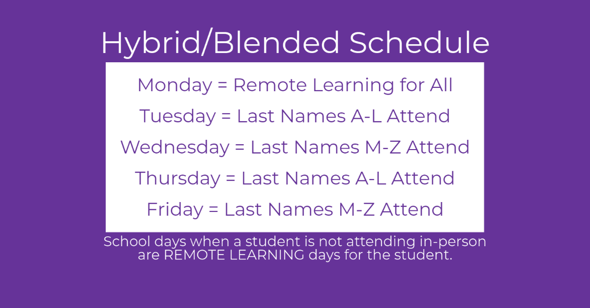 Hybrid/Blended Schedule Sept 2020