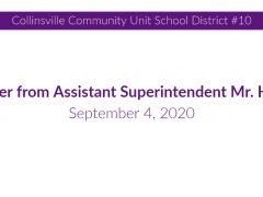 September 4, 2020 Letter to Families