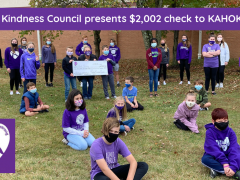 Photo of Renfro Students Presenting Check to Kahokstrong