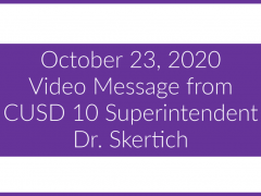 October 23, 2020 Video Message from Dr. Skertich