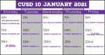 January 2021 CUSD 10 Calendar