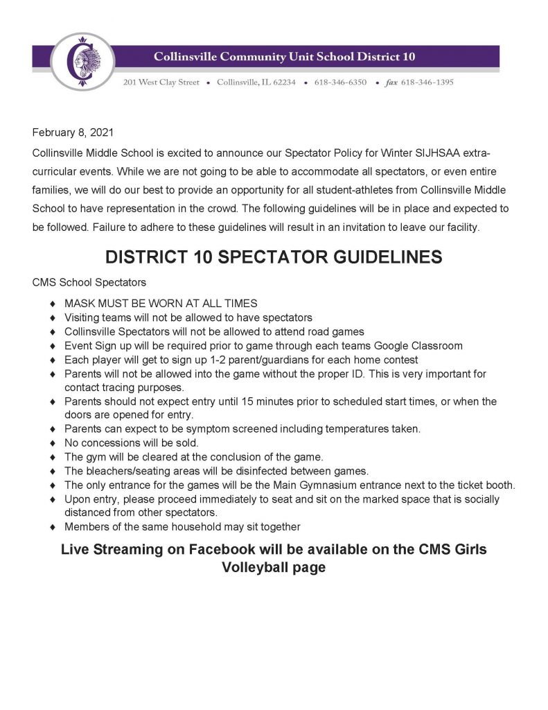 CMS Athletics Guidelines Updated Feb 8 2021