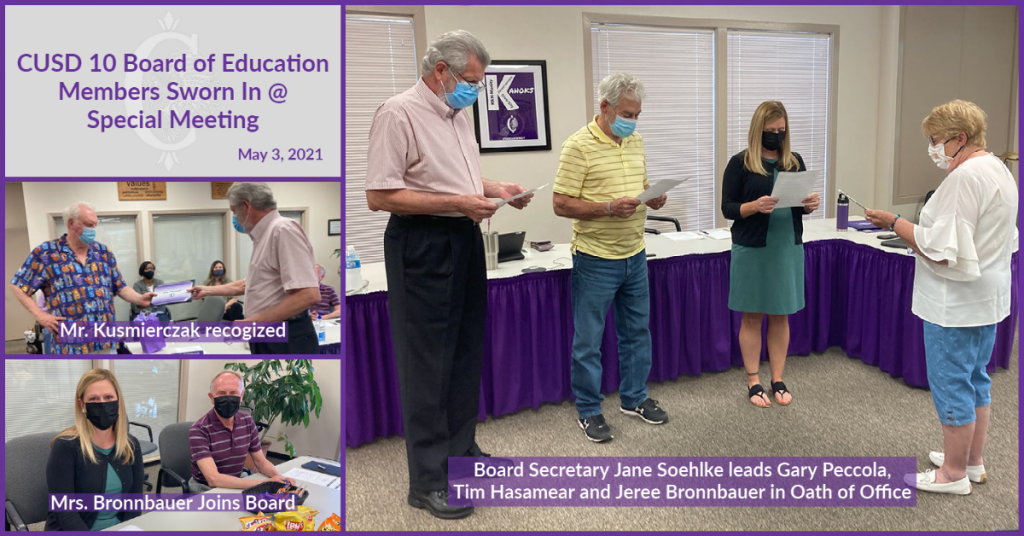Collage from May 3, 2021 CUSD 10 BOE meeting